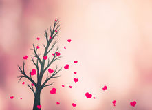 Lovely valentines tree hearts copy space Stock Images