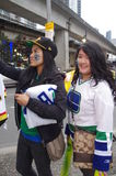 Lovely Vancouver Canucks hockey fans. Vancouver Canucks hockey fans after the game Stock Photos