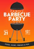 Lovely vector barbecue party invitation design template set. Trendy BBQ cookout poster design. With classic charcoal grill, fork, cooking paddle and sample text royalty free illustration