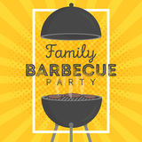 Lovely vector barbecue party invitation design template. Trendy BBQ cookout poster design. With classic charcoal grill, fork, cooking paddle and sample text royalty free illustration