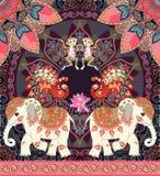 Lovely vector illustration for kid with cheerful monkey, cute cartoon elephants, fairy peacocks and paisley border. Cushion, pillowcase, greeting card, carpet stock illustration