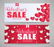 Lovely Vector Valentines Sale Banners with Paper Style Hearts Royalty Free Stock Image