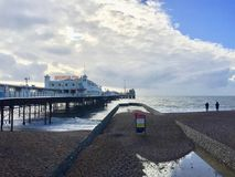 Lovely view of Brighton Pier resort. Brighton Marine Palace and Pier is popular tourist attraction, which opened in 1899. Brighton in United Kingdom Royalty Free Stock Photos
