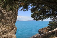 Lovely view of the sea. From the mountains offers a magnificent view of the sea Stock Images