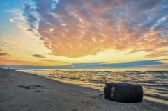 Lovely view of the sea, seascape and tire from the car  Stock Photo