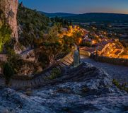 Moustiers Sainte Marie at night. The lovely village of Moustiers Sainte Marie at night Royalty Free Stock Images