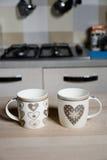 Lovely vintage coffee mug. On wood Royalty Free Stock Image