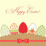 Lovely vintage Easter card with eggs in shabby chic style Stock Photography