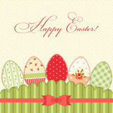 Lovely vintage Easter card with eggs in shabby chic style Royalty Free Stock Image