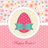 Lovely vintage Easter card with patch fabric applique of egg in shabby chic style Royalty Free Stock Photo