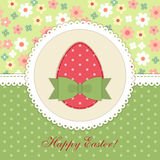 Lovely vintage Easter card with patch fabric applique of egg in shabby chic style Royalty Free Stock Image