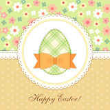 Lovely vintage Easter card with patch fabric applique of egg in shabby chic style Stock Photos