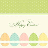 Lovely vintage Easter card with polks dots eggs in shabby chic style Royalty Free Stock Images