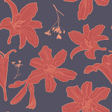 Lovely vintage floral pattern with lily Stock Image