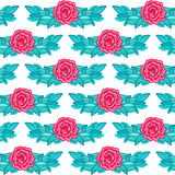 Lovely vintage seamless background with pink roses Stock Image