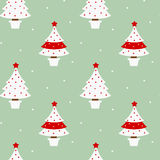 Lovely vintage white and red Christmas tree on blue background seamless pattern illustration Stock Photo