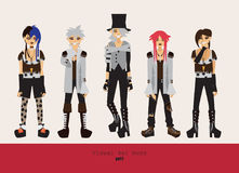 Lovely visual kei men. Different hairstyles, emotions, accessories, posing isolated on background. Creative collection with subcul. Ture oshare style, gothic Stock Photography