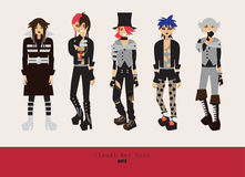 Lovely visual kei men. Different hairstyles, emotions, accessories, posing isolated on background. Creative collection with subcul. Ture oshare style, gothic Royalty Free Stock Photo