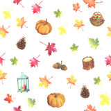 Lovely watercolor autumn pattern Royalty Free Stock Images