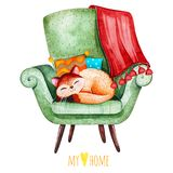 Sleeping cute kitten on cozy green chair with multicolored cushions and plaid. Lovely watercolor illustration.Sleeping cute kitten on cozy green chair with Stock Images
