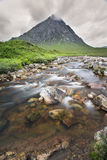 Lovely waterfall with mountain at Glen Etive near Glencoe Royalty Free Stock Photos