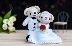 Lovely wedding bear dolls Royalty Free Stock Photos
