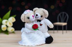 Lovely wedding bear dolls. With bokeh background stock photo