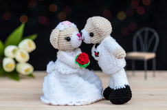 Lovely wedding bear dolls. With bokeh background Royalty Free Stock Photo
