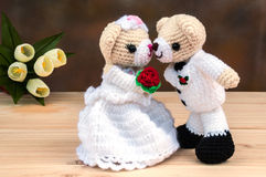 Lovely wedding bear dolls. On wooden floor royalty free stock photos