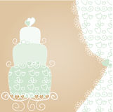 Lovely wedding cake. Vector illustration Stock Image