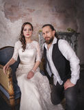 Lovely wedding couple in retro style Royalty Free Stock Image