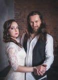 Lovely wedding couple in retro style Stock Image