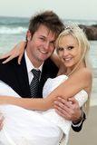 Lovely Wedding Couple at the Sea Side Royalty Free Stock Photos