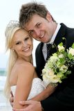 Lovely Wedding Couple at the Sea Side Stock Photos