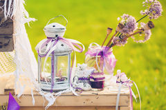 Lovely wedding decor with flowers Stock Images