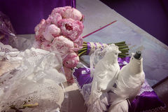 Lovely wedding doves` figures Royalty Free Stock Photography