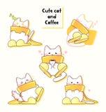 Lovely white cat who wears yellow muffler stock illustration
