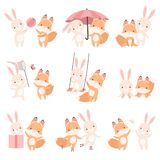Lovely White Little Bunny and Fox Cub Playing Together Set, Cute Best Friends, Adorable Rabbit and Pup Cartoon. Characters Vector Illustration on White royalty free illustration