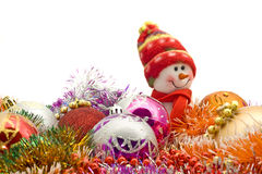 Lovely white snowman and decoration baubles Stock Images