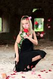 Lovely wiman with rose Stock Photos