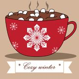 Lovely winter card with cocoa and marshmallows. Stock Photos