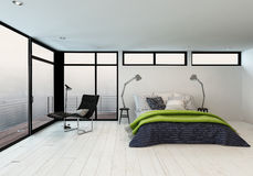 Lovely winter retreat with minimalist design Stock Images