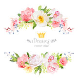 Lovely wishes floral vector design frame. Wild rose, peony, orchid, hydrangea, pink and yellow flowers. Floral banner stripe elements