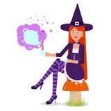 The lovely witch conjured a magic drink. Vector illustration. Painted in shape stock illustration