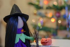 Lovely witch on halloween Stock Photo