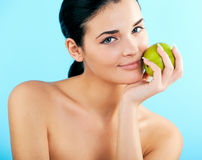 Lovely woman with apple. Picture of lovely woman with apple Stock Image