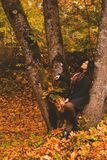 Lovely woman in autumn park Royalty Free Stock Photography