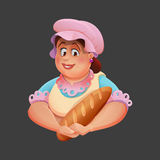 Lovely woman baker with baguette. Vector illustration. Royalty Free Stock Photo