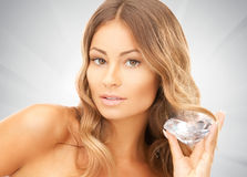 Lovely woman with big diamond. Picture of lovely woman with big diamond Royalty Free Stock Images