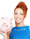 Lovely woman with big piggy bank. Picture of lovely woman with big piggy bank Royalty Free Stock Images